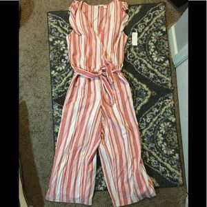 Old Navy Ruffle-Sleeve Striped Jumpsuit